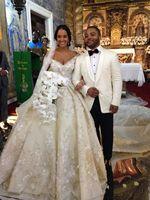 Gelinlik Lace Wedding Dress 2017 Luxury Beading Short Sleeve Muslim Wedding Gowns With Long Train Off Shoulder Vestidos De Noiva