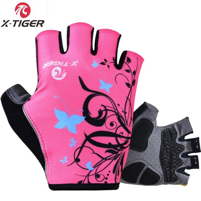 X-tiger luvas esportivas à prova de choque das mulheres luvas de ciclismo respirável lavável metade dedo equitação da motocicleta mtb bicicleta luvas 1
