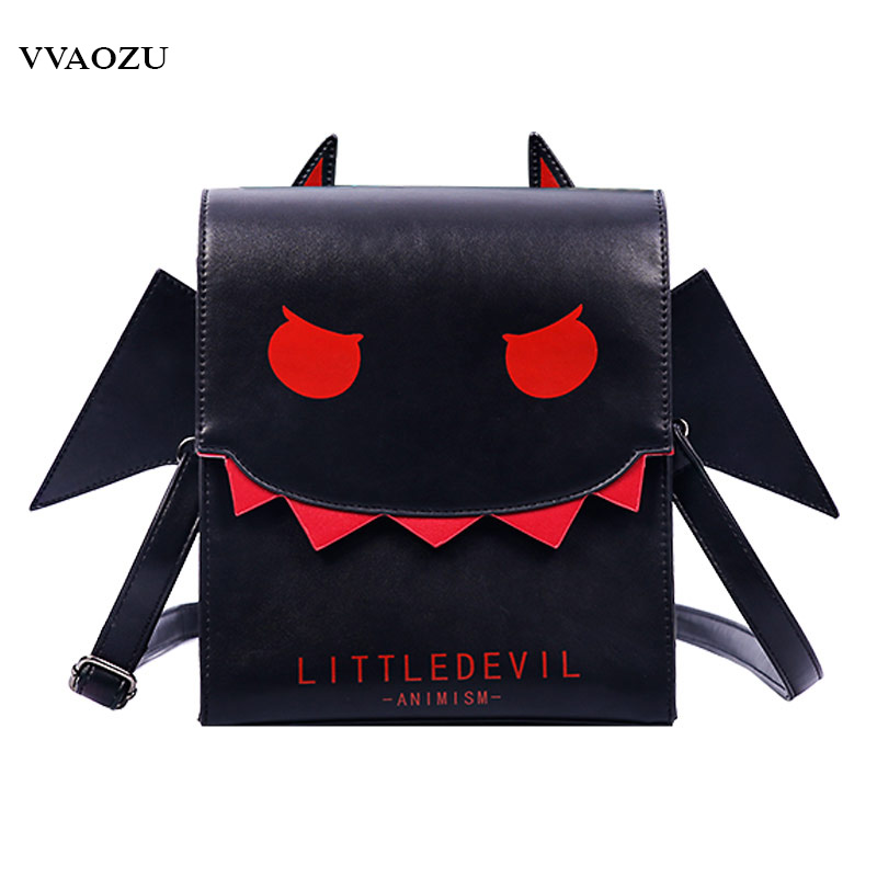 Women Gothic Vampire Bat Wing Crossbody Bag Punk Style PU Cosplay School Bag for Girls Angel Wings Little Devil Messenger Bags 4pcs gothic halloween artificial devil vampire teeth cosplay prop for fancy ball party show