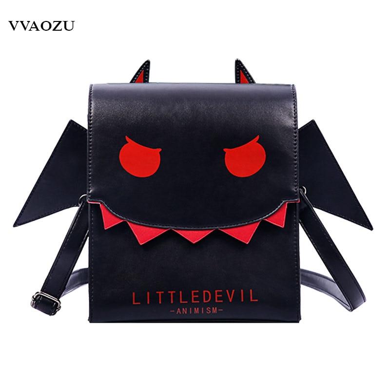 Women Gothic Vampire Bat Wing Crossbody Bag Punk Style PU Cosplay School Bag for Girls Angel Wings Little Devil Messenger Bags vampire dance