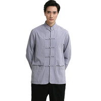 Vintage Blue Dress Shirts Men Cotton Linen Shirt Chinese Style Kung Fu Tai Chi Shirts Mandarin