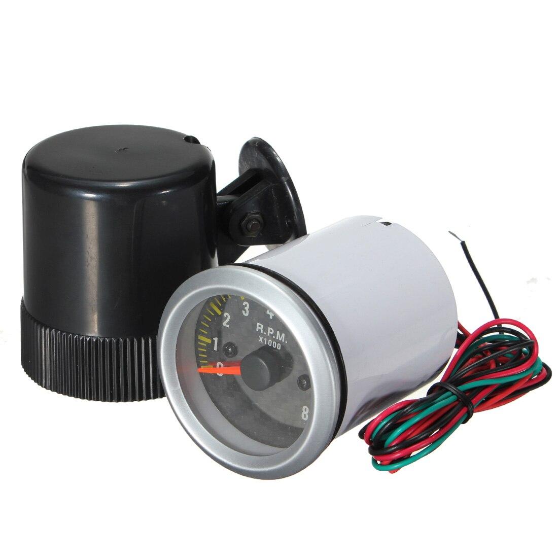 2 pollice 52mm 0-8000 rpm Rev Tachi Calibro Auto Tachimetro In Fibra di Carbonio Viso LED Giallo
