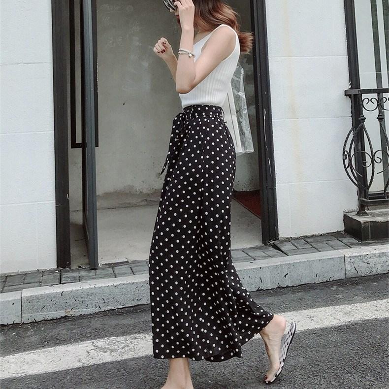Fashion Chiffon Wave Point   Wide     Leg     Pants   Women Casual High Waist Belt Loose   Pants   Office Lady Female Fall   Pants