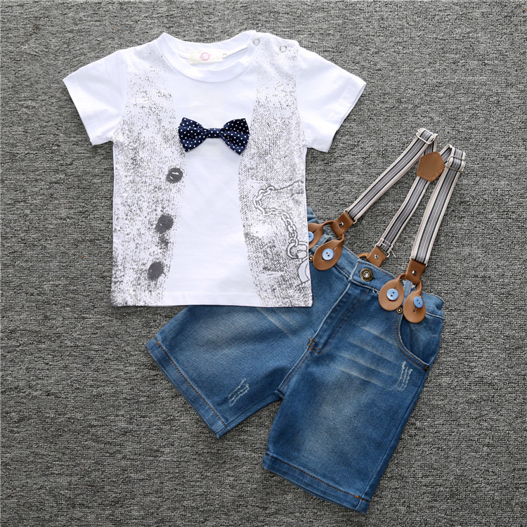 2017 Boys Summer Clothing Sets gentleman T-Shirts + Jeans overalls Shorts Kids 2Pcs Suit vetement garcon For 2 3 4 5 6 7 8 Years
