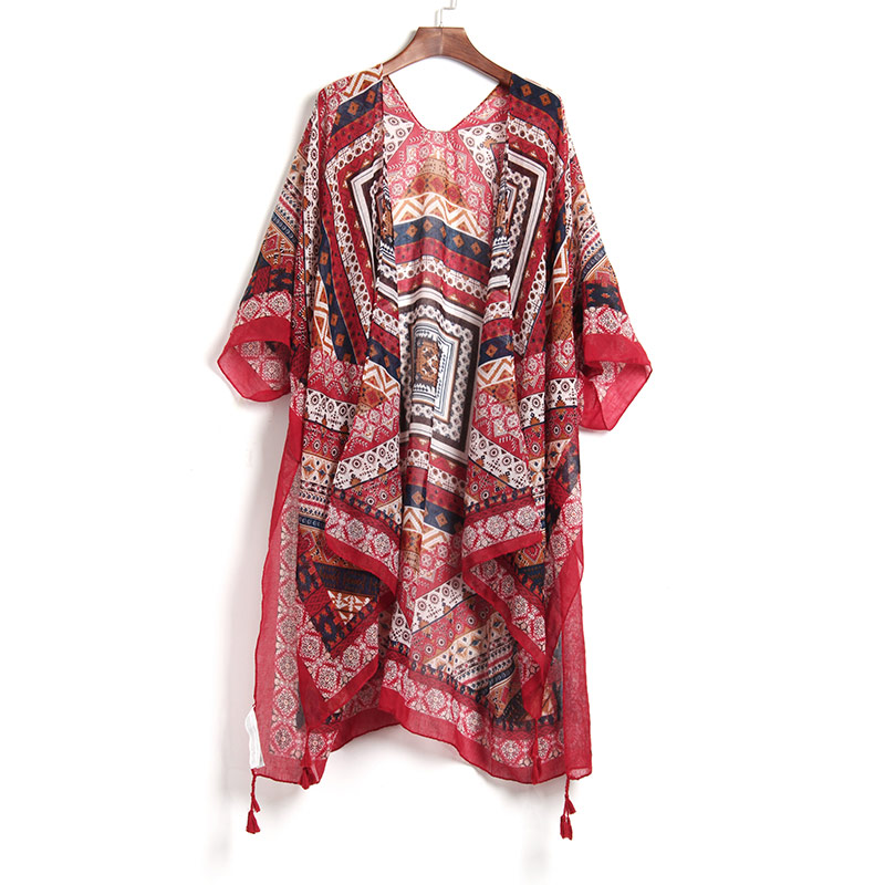 2019 Bohemian Style Geometric Printed Women Blouse Shirts Beach Wear Mid Long Women Tops Raglan Sleeve Wine Red Casual Loose Structural Disabilities Women's Clothing