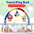 Baby Travel Play Arch Stroller Crib Accessory Cloth Animmal Toy and Pram Activity Bar with Rattle Squeak mirror, Lion Giraffe