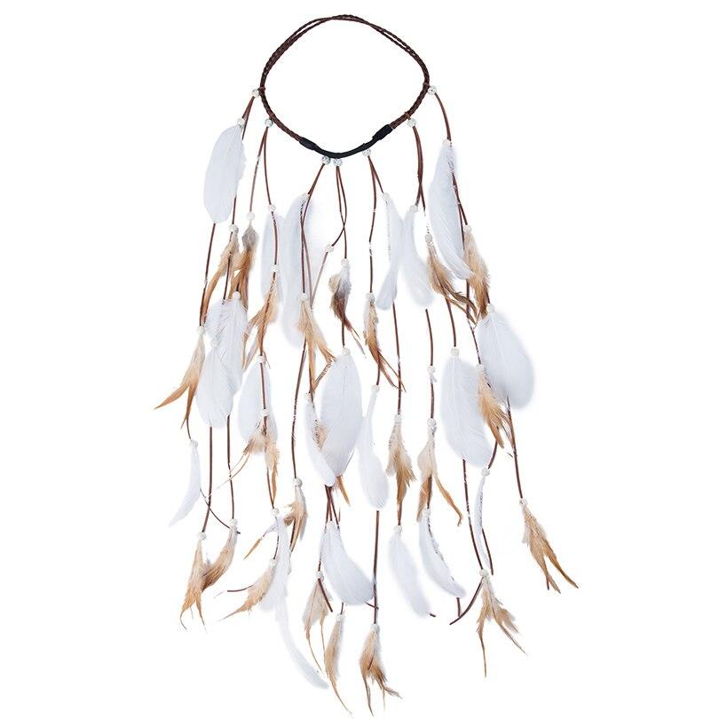 Dropwow Feather Rope Crown AWAYTR 2018 Boho White Elastic Gypsy ... acffc4da8b6c
