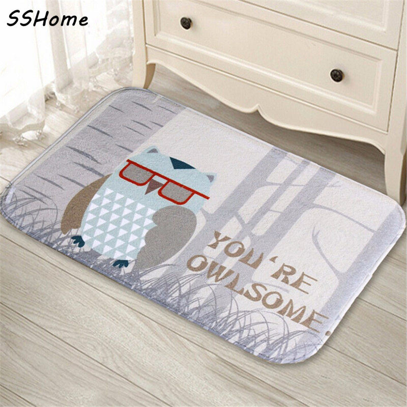 coral velvet bathroom carpet mats antislip rug shower 40x60cm owl eyes bath kitchen doormat - Bathroom Carpet