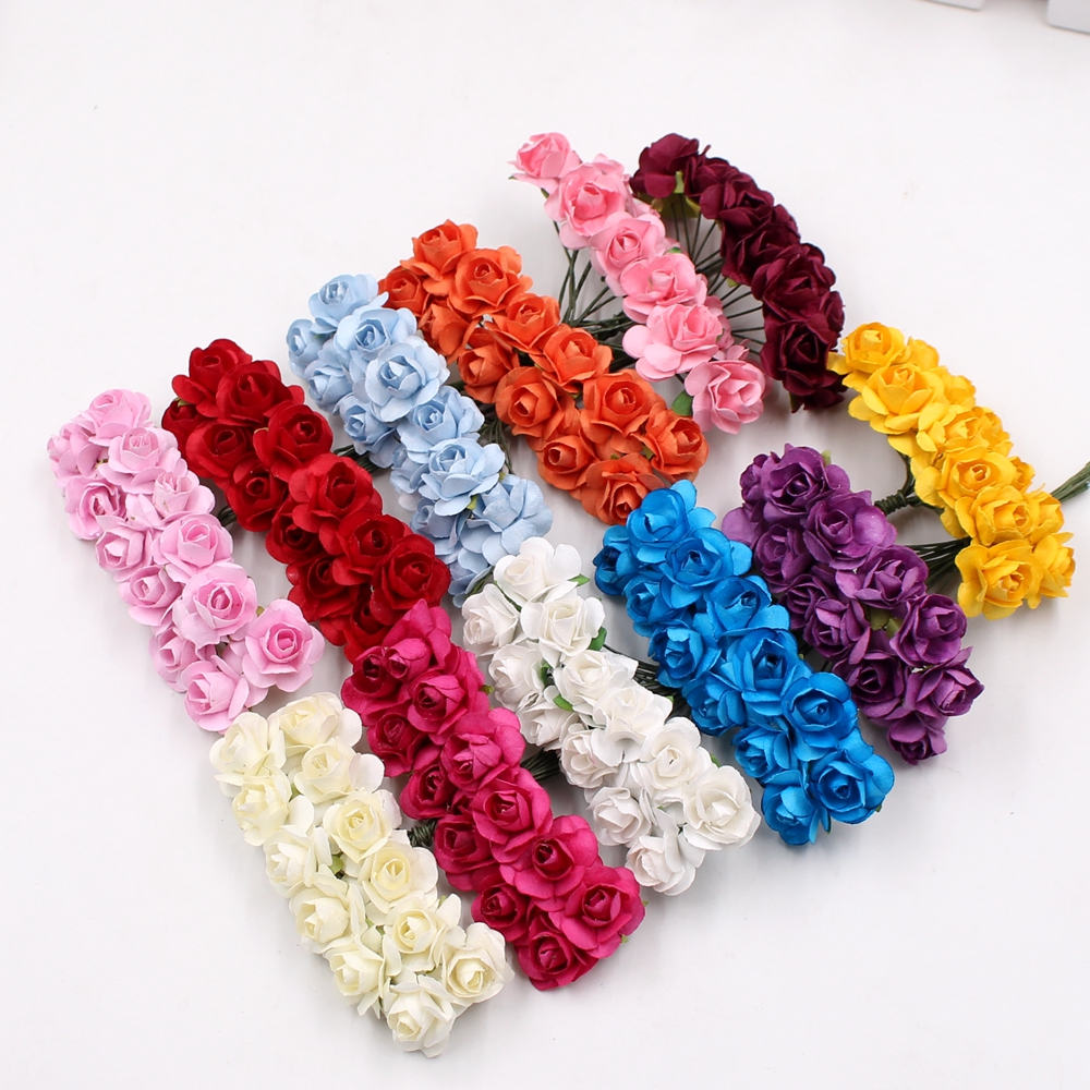 12pcs/lot Mini Paper Rose Handmake Artificial Flower Bouquet Wedding Decoration DIY Wreath Gift Scrapbooking Craft Fake Flower ...