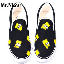 LEO Boys Girls Anime Simpsons Hand Painted Canvas Shoes Slip-On Cartoon Figure Simpson White Black Men Casual Shoe Shoes