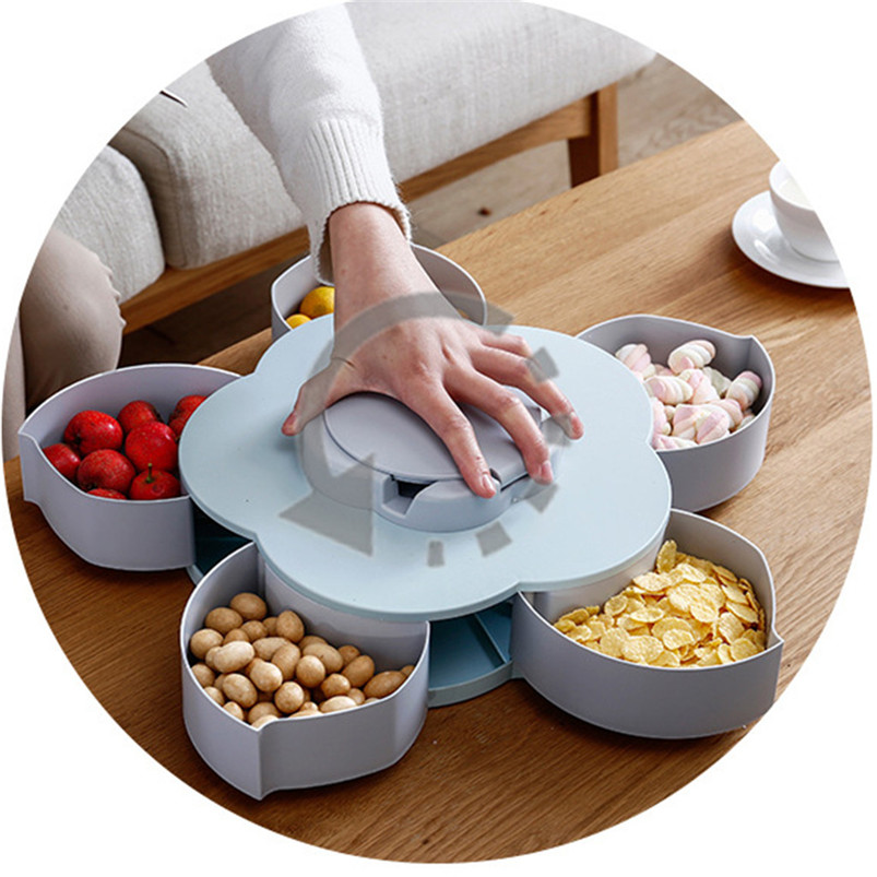 Creative Rotating Fruit Box Flower Candy Box Plum Blossom Rotating Fruit Bowl With Mobile Phone Holder Dried Fruit Box 35MR2203