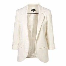 Women's Jacket Slim Thin Cardigan Blaser Feminino Work Suit Chic Plus Size Blazer Solid Color Female Women Basic Coats Outwear