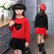 Fashion Girls Clothing Set 2019 Autumn baby Clothes Red sweater Heart Print+ skirt Children 2pcs set 4 9 15 Years