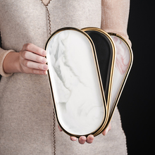 Nordic Marbled Ceramic Oval Plate Western Dish Dessert Plate Jewelry Storage Tray Tableware Accessories Sushi Seafood Dish