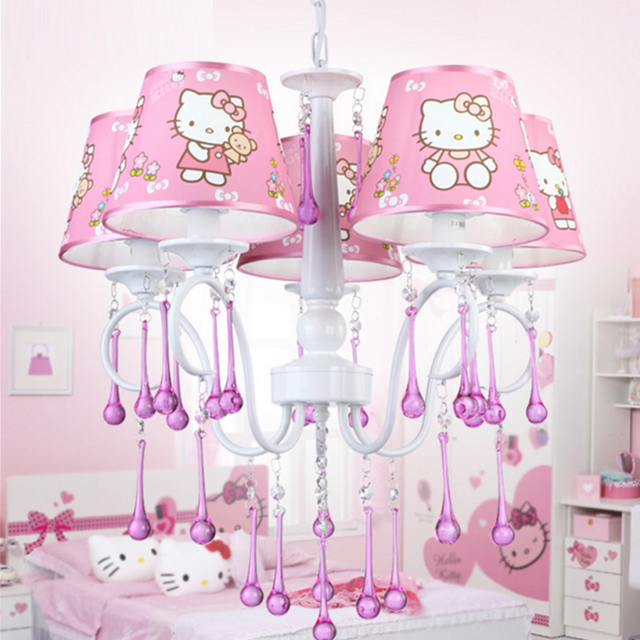 Girls Room Chandelier Children Bedroom Lamp Hello Kitty Cat Light Girl  Bedroom Light Restaurant Princess Pink