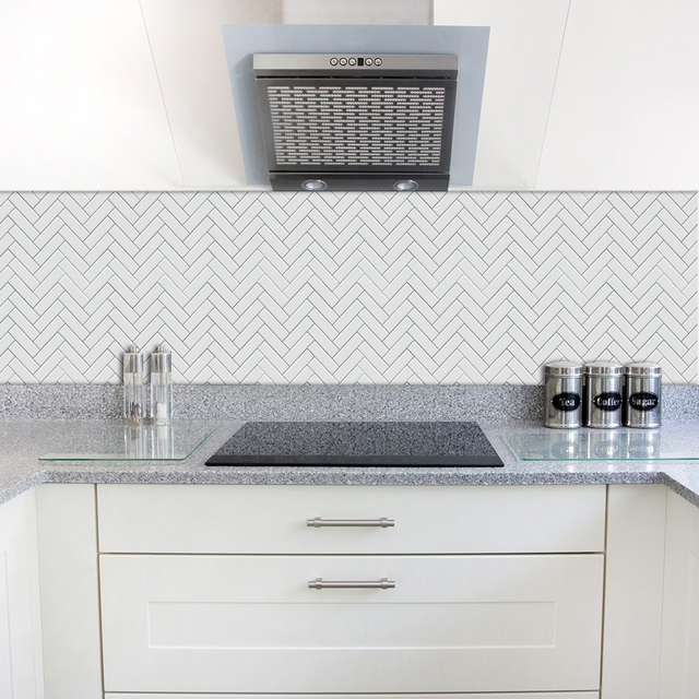 Funlife Self adhesive Waterproof White Chevron  Tiles Kitchen bathroom Furniture Tile Sticker Wall Decal 15*15cm/20*20cmTS040