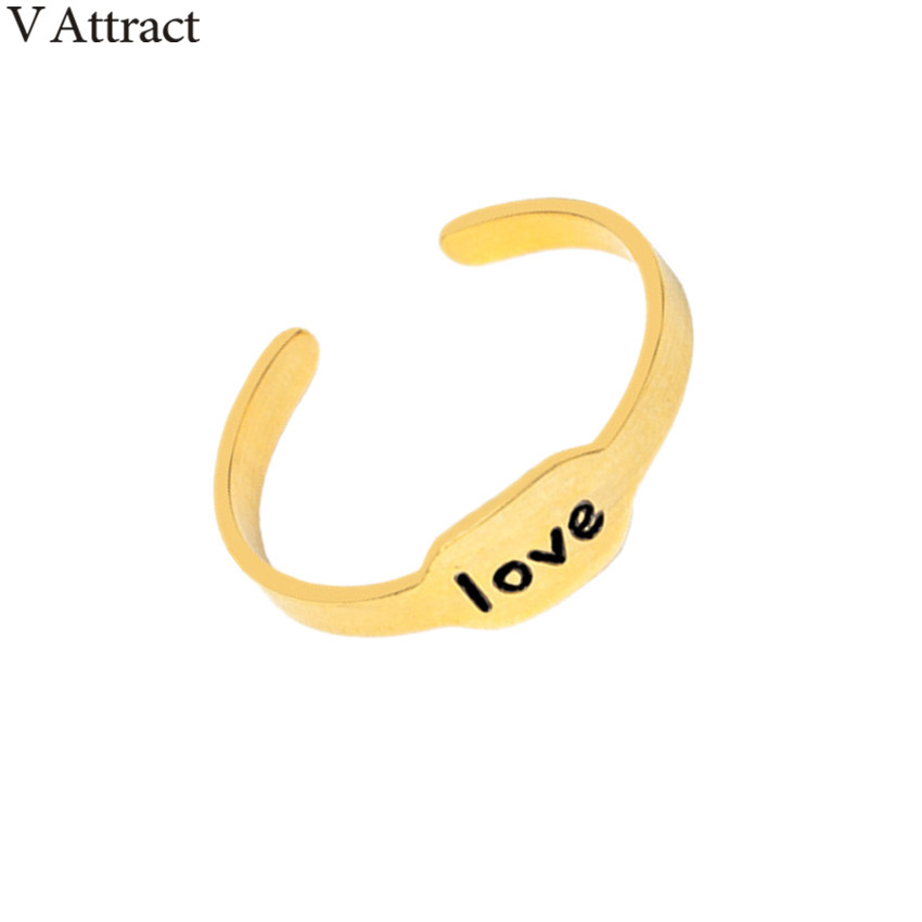 V Attract Stainless Steel Adjustable Couples Ring For Women Men Jewelry Letter Love Geometric Bar Ring Rose Gold Anel