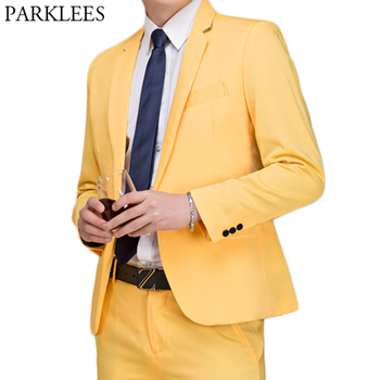 (Jackets+Pants) Mens Yellow Tuxedo Dress Suit Single Breasted Lapel Solid Suits Work Wedding Singer Party Stage DJ Costume Homme