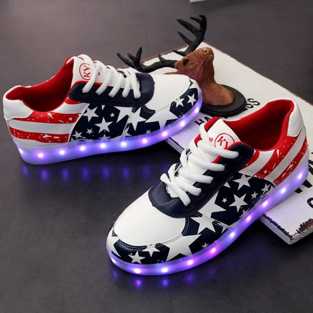 2016 American Star Shoes Colorful USB Rechargeable LED luminous male and female couple shoes size 35~44 free shipping