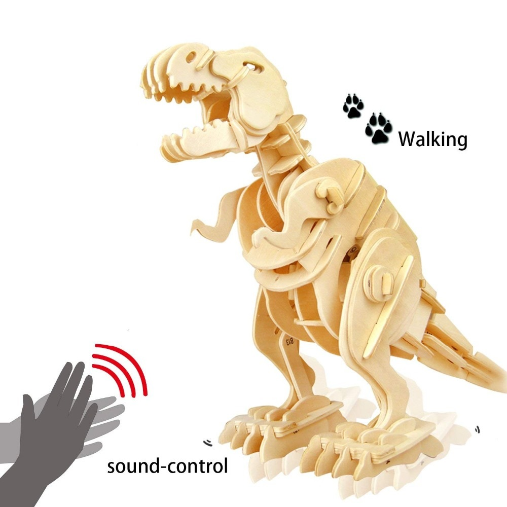 Robotime Kreative DIY 3D Walking T-rex Holz Puzzle Spiel Montage Sound Control Dinosaurier Spielzeug Geschenk für Kinder Erwachsene d210