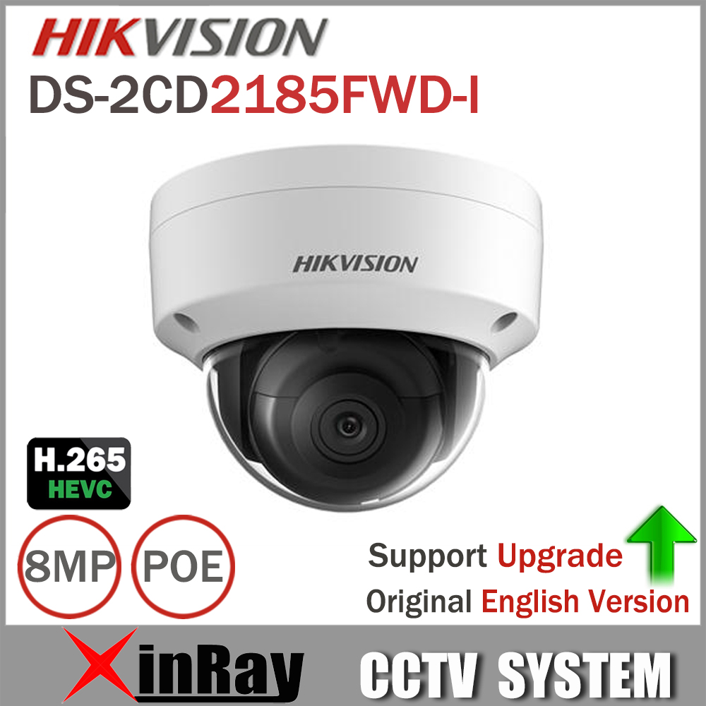 Hikvision 8MP IP Camera DS-2CD2185FWD-I Network Dome Camera H.265 High Resolution CCTV Camera with SD Card Slot IP67 hikvision new released 8mp h 265 network dome camera ds 2cd2185fwd i 3d dnr bullet camera 3840 2160 resolution ik 10 ip 67