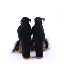 2018 Sexy Women Suede Pumps Open Toe Heels Sandals Woman Sandals Ankle Strap Fur Wedding Shoes Women High Heels Dress Shoes