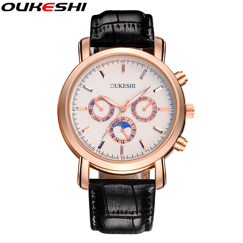 2017 OUKESHI Brand Men Business Watch Fashion Casual Leather Quartz Watch Men Golden Waterproof Watch Relogio Masculino
