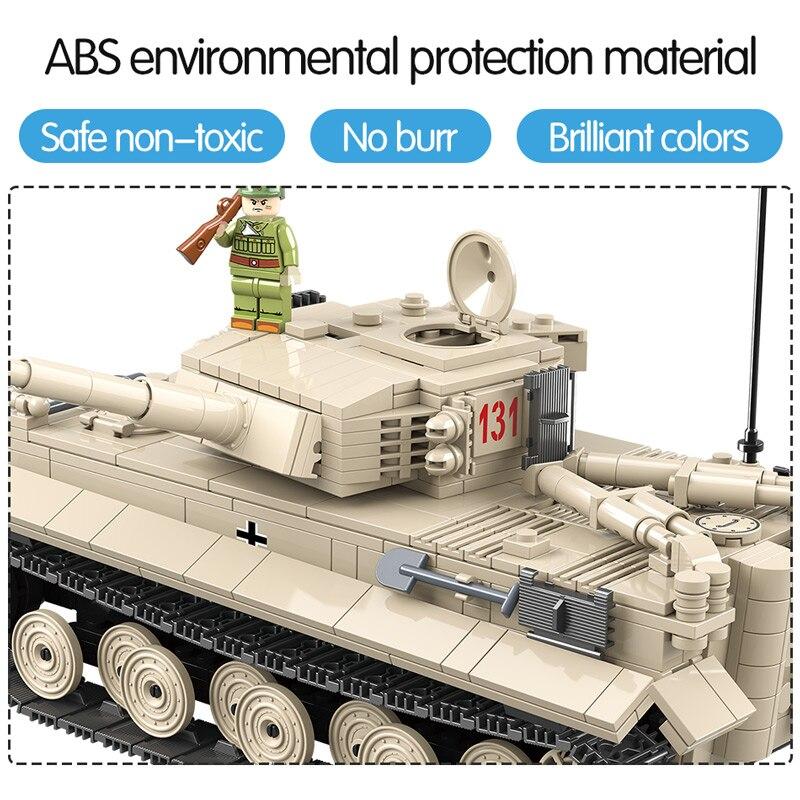 1018 pièces réservoir militaire WW2 blocs de construction compatibles avec la ville Jedi réservoir tigre 131 briques combattant armes jouets pour garçons - 5