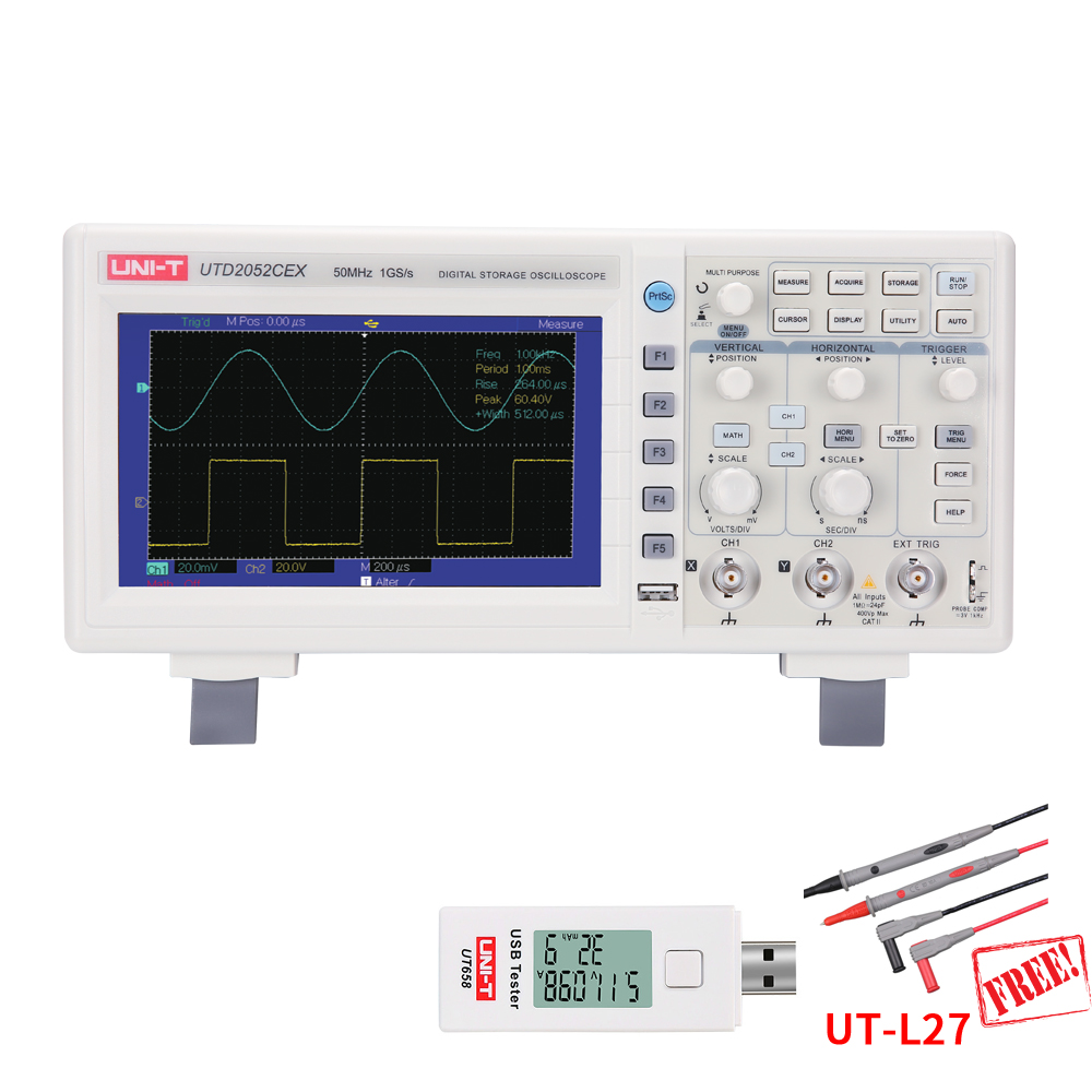 UNI-T UTD2102CEX UTD2052CEX UTD2025CL UTD2052CL Digital Storage Oscilloscopes Scopemeter Scope Meter USB Tester Free 7 inches осциллограф uni t utd2102cex
