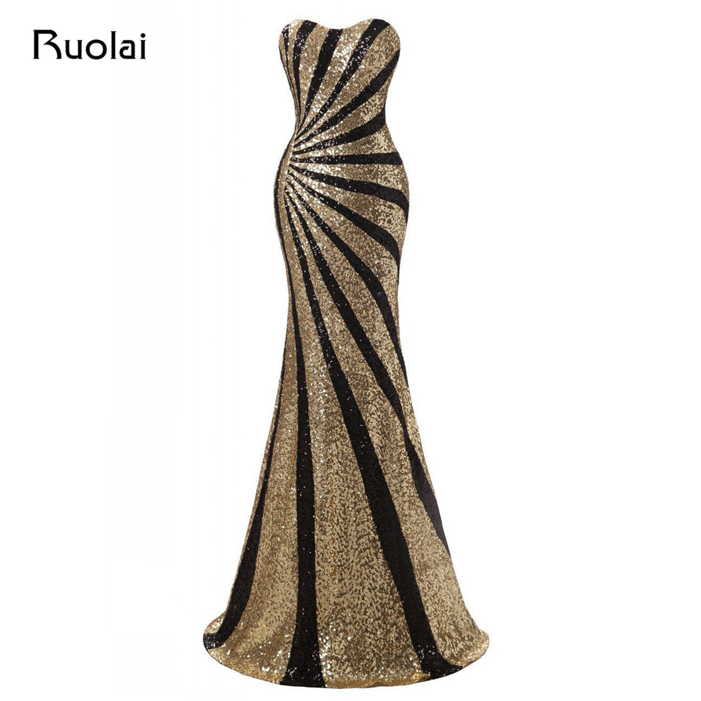 Sexy <font><b>Mermaid</b></font> Evening <font><b>Dresses</b></font> Long 2019 Black and Gold Sequined Prom <font><b>Dresses</b></font> Vestido de Fiesta Largo Prom Party Gown PD80 image