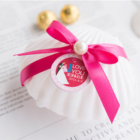 20pcs/lot Sweet Love Wedding Favors Gift Plastic white Shell Candy Box Creative Peal Knot Shell Gift Box Wedding Party Supplies