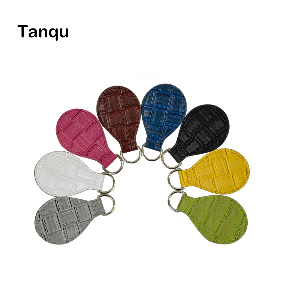 TANQU 1 Pair 2 Pc Weave Pattern Patchwork Embossed PU Drop Attachment For Obag Handle Strap Chain For OBag Obasket Women Handbag