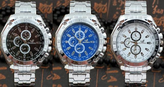 e1cc7028bc0 Atacado 50 pçs lote Mix 3 Cores Orlando Marca Aço Inoxidável Relógio De  Metal de