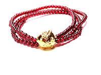 3D Yellow Gold Cartoon Pig Beads Garnet Bracelet Bangle Jewelry