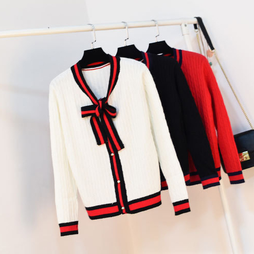 US $26.71 25% OFF Queechalle Autumn knitted cardigans coat Female bow ties V neck long sleeve cardigan Women's stripe patchwork edge casual