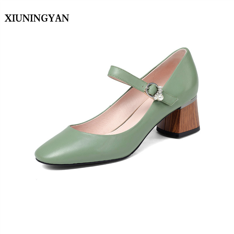 XIUNINGYAN Cow Leather Shoes Square Toe Women Mary Janes Pumps High Thick Square Heel Buckle Strap Pearl Elegant Lady Shoes Hot 5 colors ankle strap lady wedding shoes women red thick high heel pumps lady square toe black dress shoes size34 43