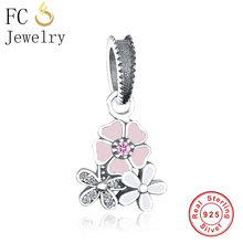 FC Jewelry Fit Original Pandora Charm Bracelet 925 Sterling Silver Pink White Enamel Flower Love Daisy Bead Pendant DIY Berloque(China)