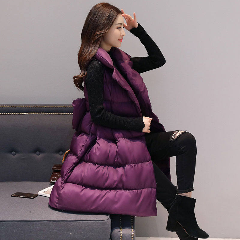Long Down Cotton Vest Coat Women Veste Femme Sleeveless Winter Jacket Women Waistcoat A Line Elegant Warm Parka Vest Women C4744