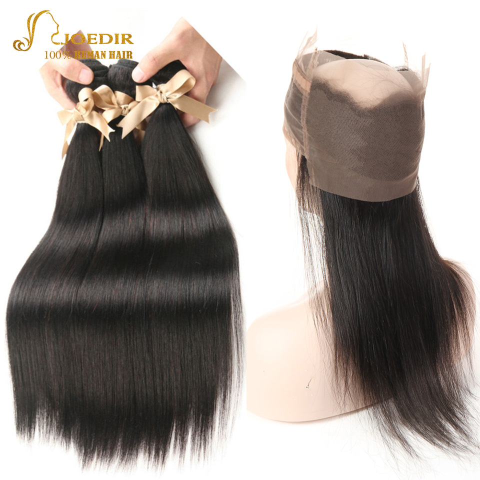 Joedir Hair Brazilian Straight 2 3 4 Human Hair Bundles With 360 Lace Frontal Closures For Black Women Can Be Made Short Wigs Refreshing And Beneficial To The Eyes Hair Extensions & Wigs 3/4 Bundles With Closure