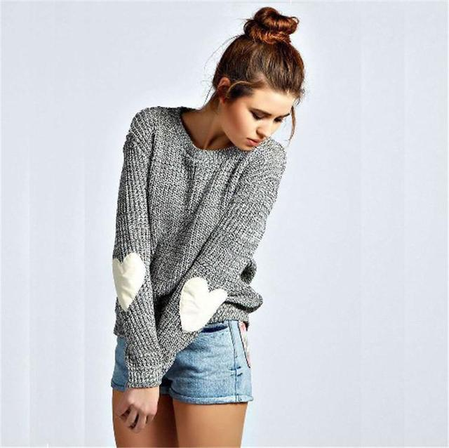 Women Casual Solid O Neck Long Sleeved Pullover Knitted Sweater With White Heart Plus Size Cute Grey Color Tops