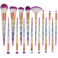 15Pcs Rose Gold Makeup Brushes Soft Hair Eye Make Up Brush Set Rainbow Diamond Eyeshadow Eyebrow