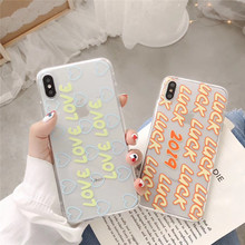 Transparent lucky English letters phone case For iphone XS MAX XR 6 6s 7 8plus case For iphoneX soft shell tpu capa back cover