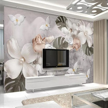3d wallpaper stereo white pearl flower Nordic vintage background mural high-grade waterproof material