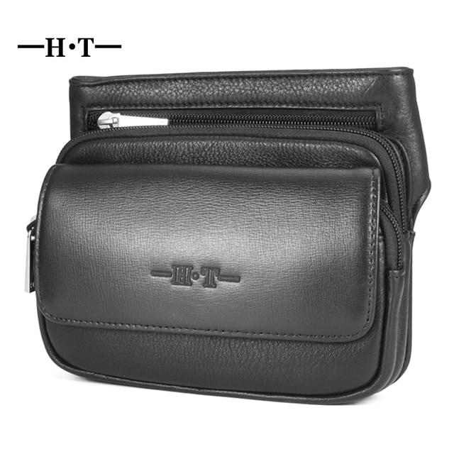 de3668b18c78e HT Casual Men s Waist Bag Brand Designer Leather Business Waist Pack  Genuine Leather Waist Belt Bag