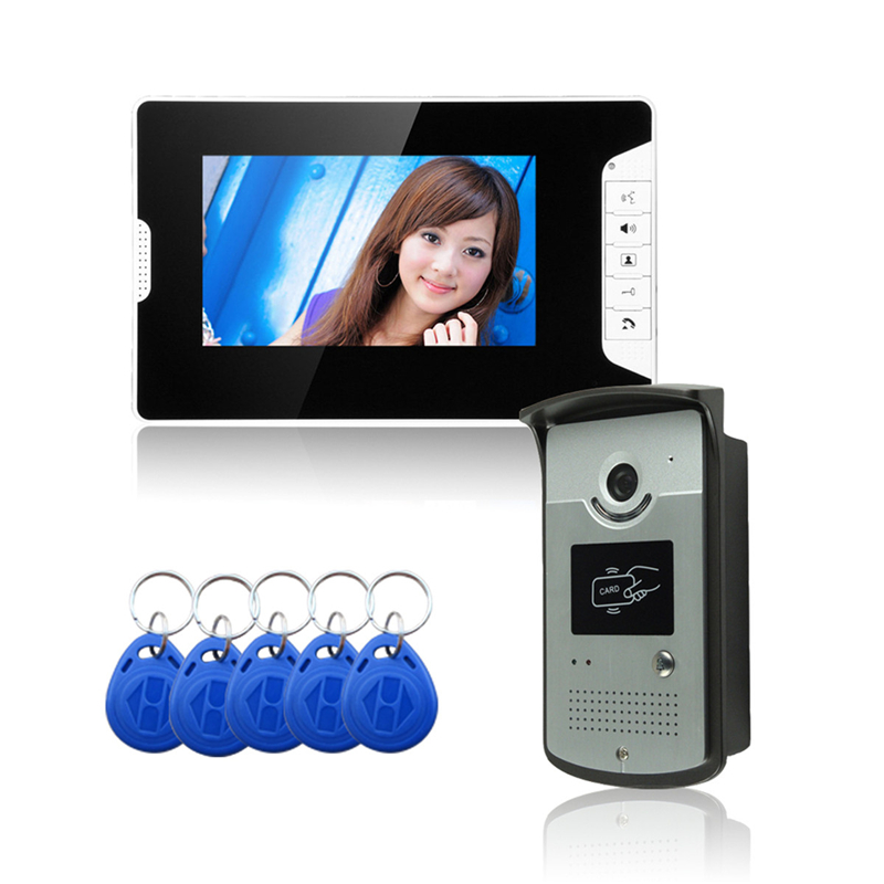 New 7 Inch Color LCD Video Door Phone Intercom System With 1 White Monitor 1 RFID Card Reader HD Doorbell Camera Night Vision diysecur electric lock 7 inch color video door phone visual intercom doorbell card key reader rfid led night vision camera 1 v 1
