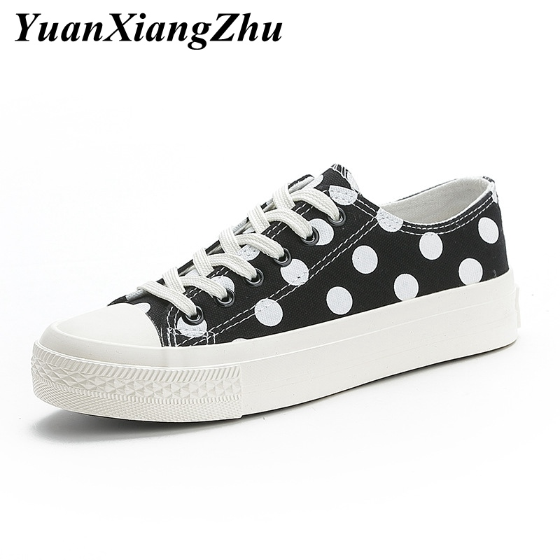 Fashion Polka Dot Canvas Shoes Woman Flat Shoes For Girls White Black Basket femme Sneakers Women Casual Shoes Zapatillas mujer in Women 39 s Vulcanize Shoes from Shoes