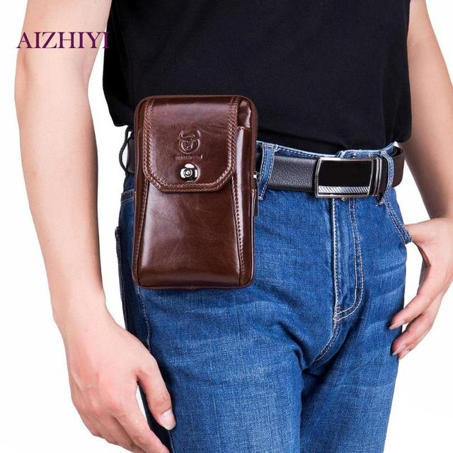 677f167e US $13.25 28% OFF|BULLCAPTAIN Casual Men Shoulder Belt Bags Leather  Crossbody Phone Pouch Travel Waist Fanny Packs 2019 New Male Bag-in Waist  Packs ...