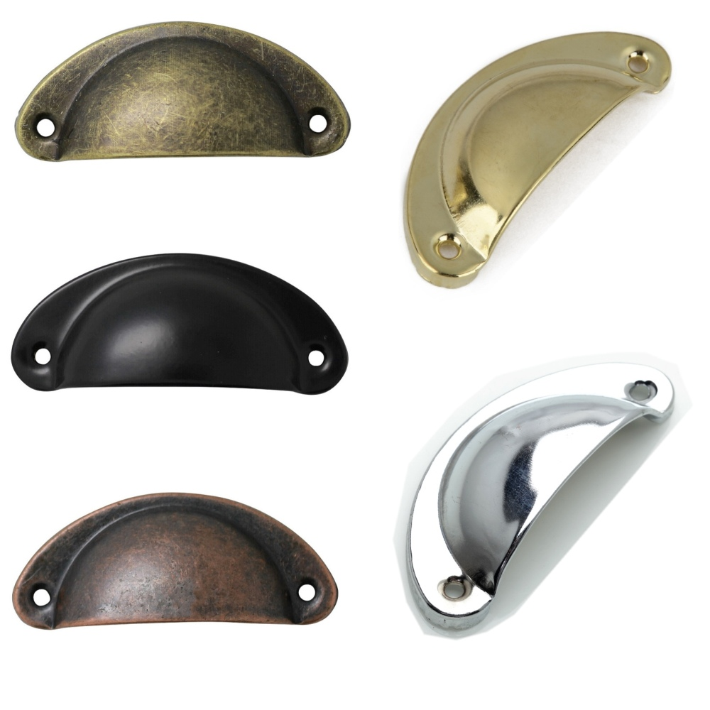 6PCS Kitchen Cupboard Door Cabinet Knob Drawer Furniture Antique Shell Pull Handle