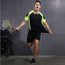 2017 Direct Selling New Male Fitness Sport Suit Summer Clothes Jogging Quick Dry Breathable T Shirt Clothing With Woven Shorts