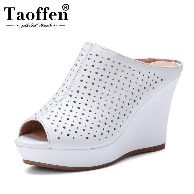 TAOFFEN/Для женщин из натуральной кожи сандалии на танкетке Для женщин на платформе открытые пляжные Тапочки Летняя женская обувь Размеры 33-41